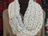Womens Mobius Scarf - Cream with Pull Through Loop