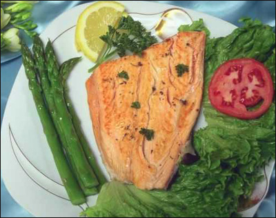 Fatty fish like this salmon steak are rich in omega 3.