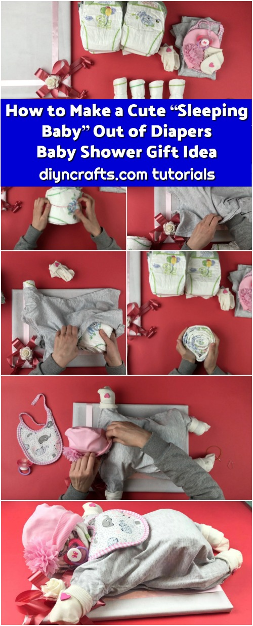 "How to Make a Cute ""Sleeping Baby"" Out of Diapers - Baby Shower Gift Idea"