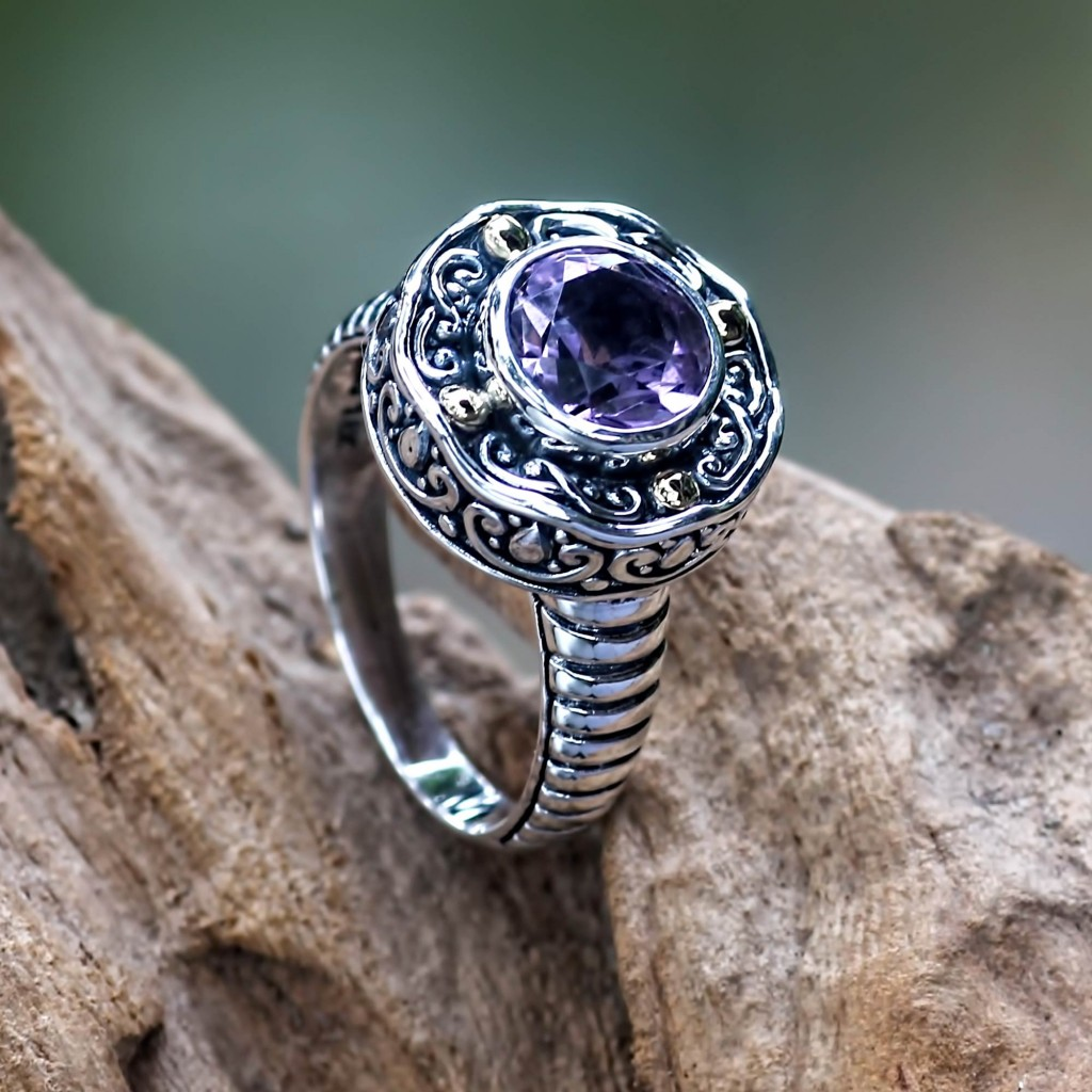 Handmade Balinese Cocktail Ring with Amethyst and 18k Gold,