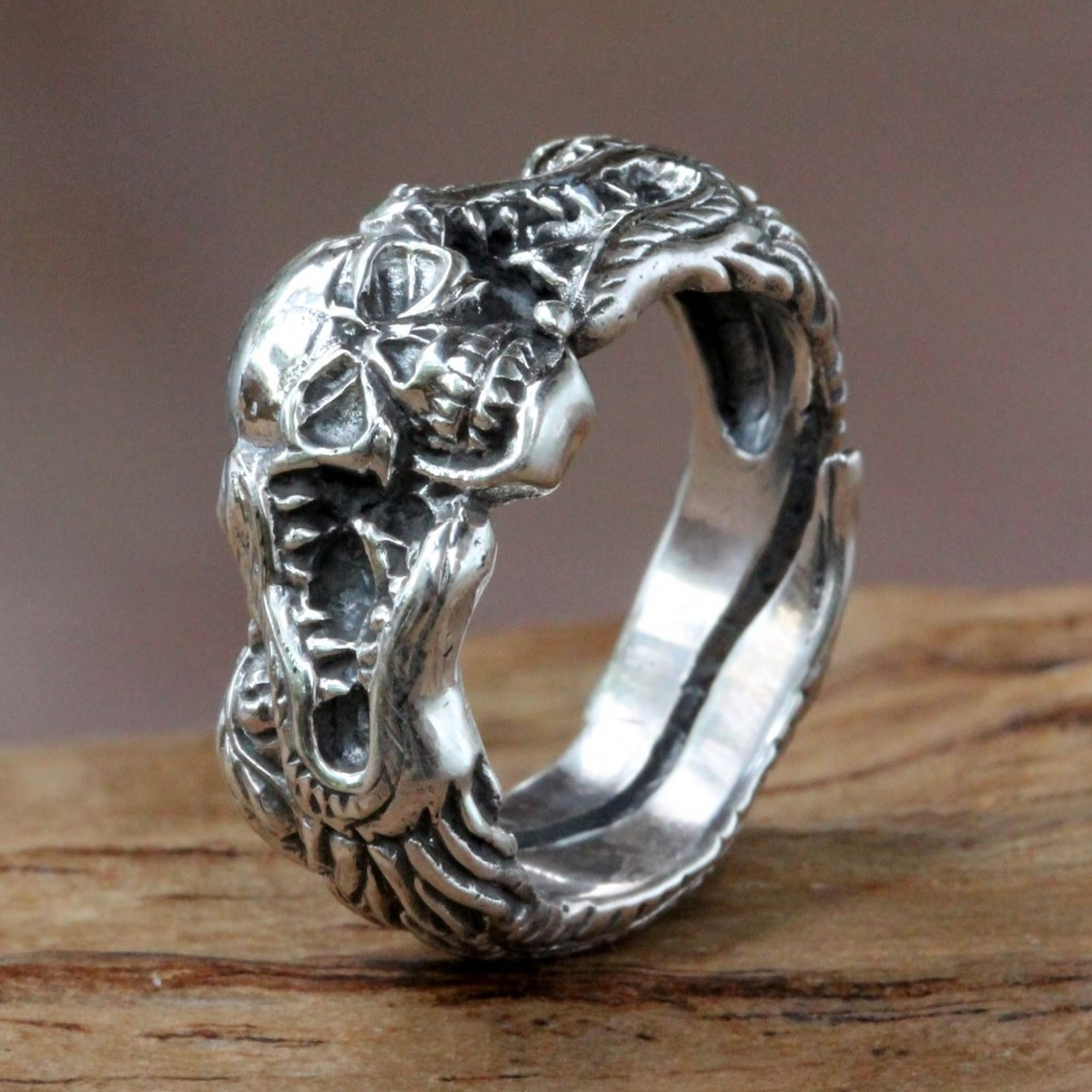Sterling Silver Skull and Dragon Ring from Bali,