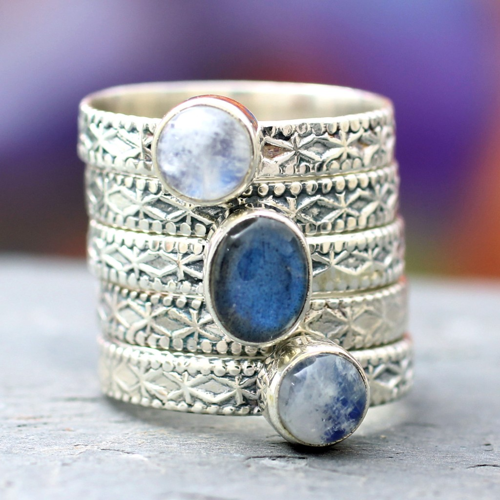 Rainbow Moonstone and Labradorite Stacking Rings (Set of 5),