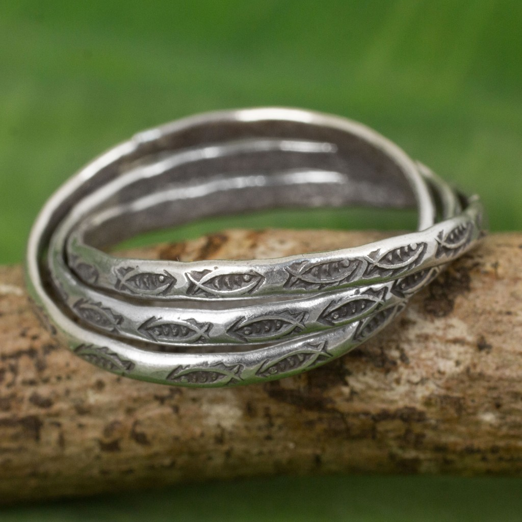 Set of 3 Interlinked Hill Tribe Silver Rings,