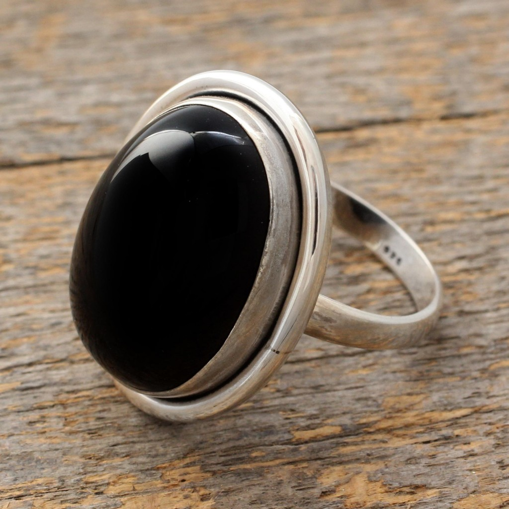 Fair Trade Sterling Silver and Onyx Cocktail Ring,