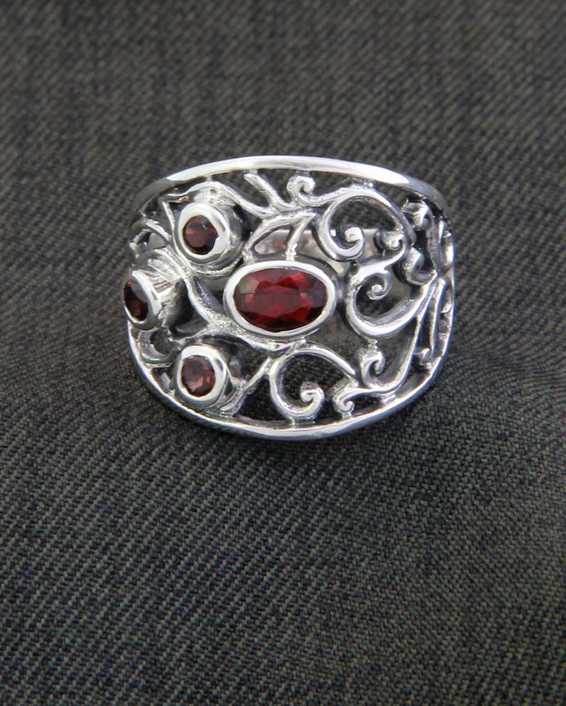Sterling Silver and Garnet Ring from Indonesia,